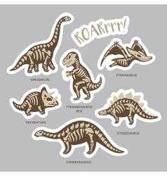 Sticker set of dinosaur skeletons in cartoon style vector
