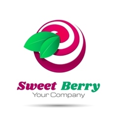 Tasty cherry icon simple elements logo template vector