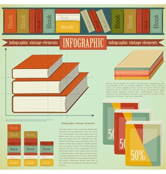 Vintage infographics set - book vector