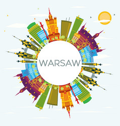 warsaw skyline with color buildings blue sky and vector image