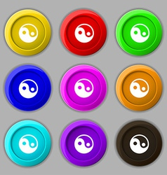 Ying yang icon sign symbol on nine round colourful vector
