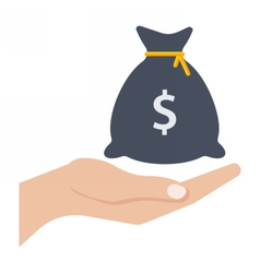 Hand and money bag vector