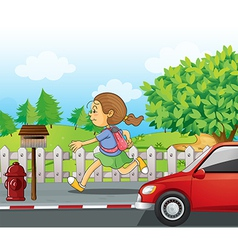 A girl running in the street vector