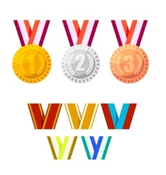 Set of champion medals gold silver and bronze vector