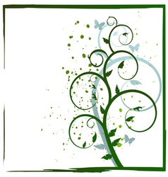 Abstract plant and butterflies vector image