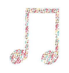 Musical note color silhouette formed by musical vector
