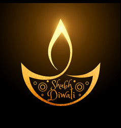 artistic diwali festival golden diya background vector image