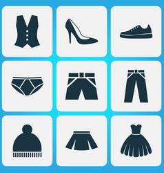 Garment icons set collection of waistcoat beanie vector