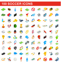 100 soccer icons set isometric 3d style vector image