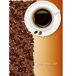 Coffee and brown beans vector