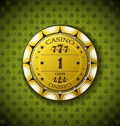 Poker chip nominal one on card symbol background vector