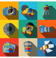 Photographer colorful flat icons set on bright vector