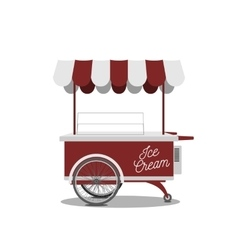Red retro ice-cream cart for your design vector