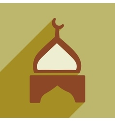 Modern flat icon with long shadow indian temple vector