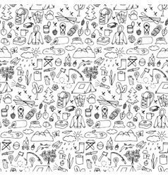 Hand drawn tourism seamless pattern vector