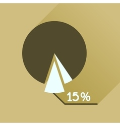 Flat icon with long shadow percent chart vector