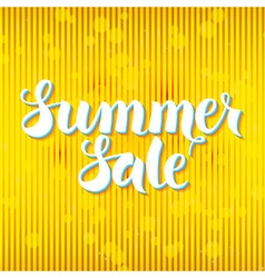 Summer sale lettering over yellow abstract vector