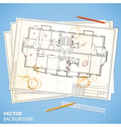 Architectural papers with sketches and pencils vector image vector image