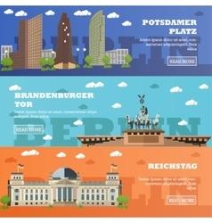 Berlin tourist landmark banners vector
