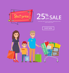 Best price proposition banner with family shopping vector