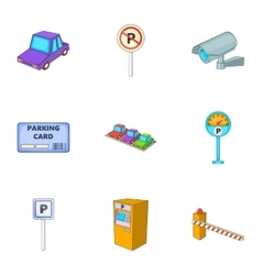 Car accommodation icons set cartoon style vector