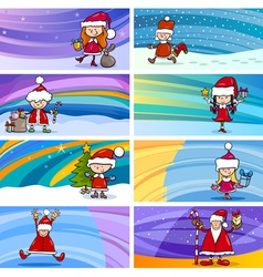 cartoon greeting cards with children vector image vector image