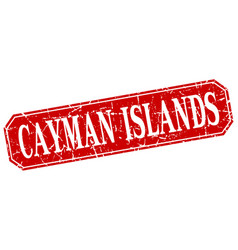 Cayman islands red square grunge retro style sign vector