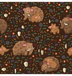 Cute floral seamless pattern with mammoths vector