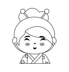 Cute japanese girl icon vector