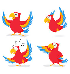 cute parrot cartoon collection set vector image
