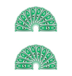 dollars laid out in a semicircle money vector image vector image