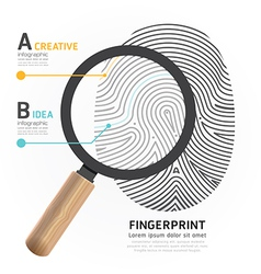 Fingerprint with magnifier vector image