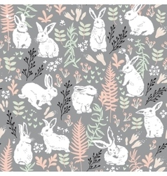 Floral pattern with white hares vector image vector image