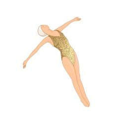 Gold swimmer wall art vector