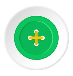 Green sewing button icon circle vector