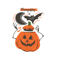 hand drawn abstract cartoon happy halloween vector image