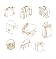 Hand drawn suitcases vector
