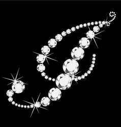 I italic letter with diamonds vector