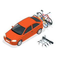 Isometric bikes loaded on the back of a van car vector