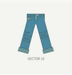 Line flat color icon wear - ripped jeans vector