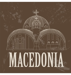 Macedonia landmarks retro styled image vector