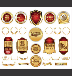Medieval golden shields laurel wreaths and badges vector