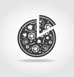 Pizza piece black icon vector