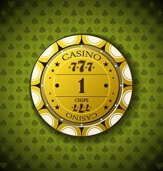 Poker chip nominal one on card symbol background vector image vector image
