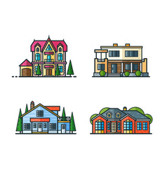 residential houses icons vector image