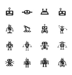 robots icon set vector image