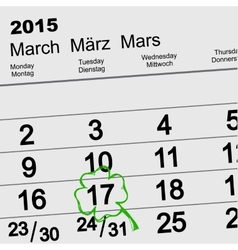 Saint Patricks Day Calendar March 17 vector image vector image