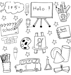 School doodles set hand draw vector image