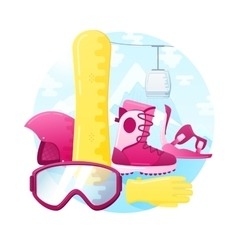 Set of detailed flat snowboarding equipment vector