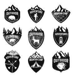 set of mountain camping outdoor adventure vector image vector image